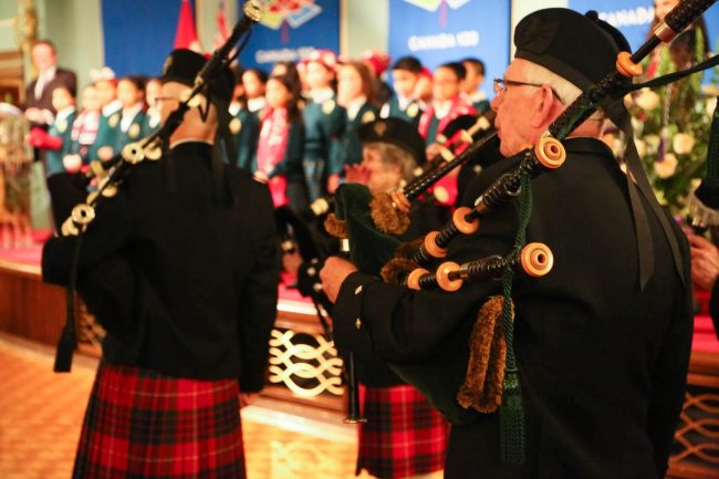 Pipers of Cary Castle Pipe Band perform