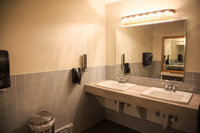 Sinks in the renovated washrooms allow easier access for users in wheelchairs