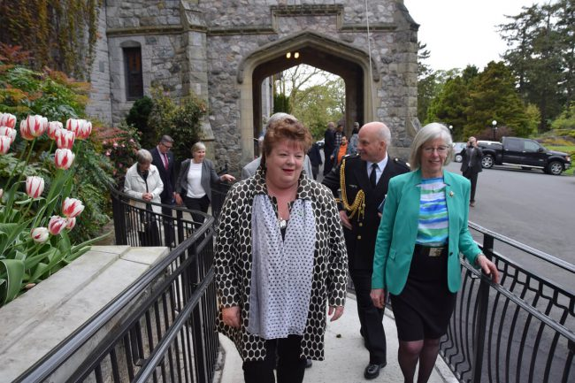 Lt.-Gov. Judith Guichon and MLA Linda Reid, former speaker of the Legislative Assembly, take a stroll on the new ramp.