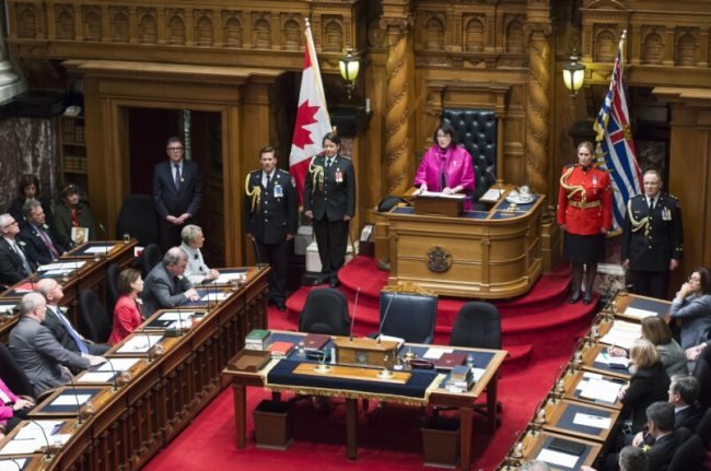 The Lieutenant Governor's role in our system of governance provides her a unique platform from which to ensure all British Columbians and all Canadians have a solid understanding of and respect for the foundations of good government. In this photo, Lt.-Gov. Janet Austin reads the Speech fom the Throne.